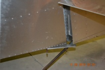 Rudder control arm view from right side