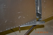 Rudder control arm view from right side - zoomed in