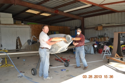 Cowling Fitting - Here our friends Paul Salter and Bob Woolley help with fitting the cowling